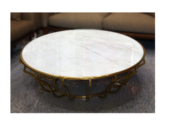 Omnah Round Brass And Marble Table