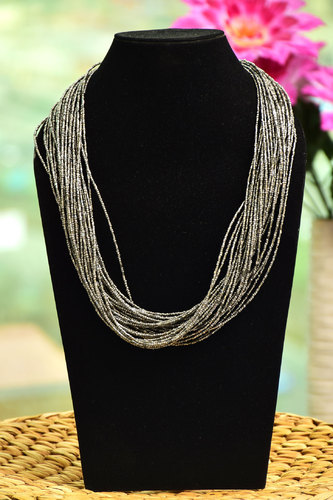 Wow Trendy Beads Multi Layered Beaded Necklace - Gray Color, Size: 25 CM X 10 CM