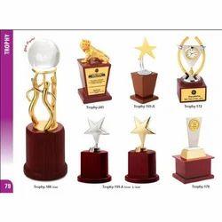 Brass, Alloy Golden (Gold Plated) Wooden Trophy