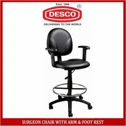 Mild Steel Black Surgeon Chair with Arm & Foot Rest