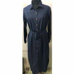 Casual Dark Blue Ladies Robe