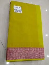 Plain With Boarder Formal Wear Mangalgiri Saree, 6 m (with blouse piece)