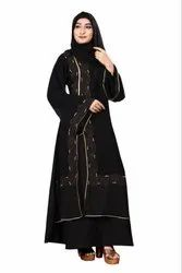 Women's Nida Abaya Burqa With Attached Chiffon Jacket And Dupatta