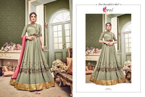 110131d6c1 Georgette Mehndi Green Anarkali Suit, Rs 1450 /piece, Varniraj ...
