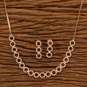 White Cz Trendy Necklace Set With Rose Gold Plating 401255