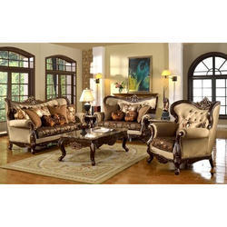 Leatherette Light Golden Traditional Sofa Set, Rs 95000 /set | ID ...