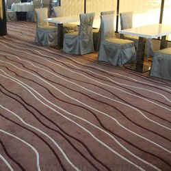 Brown Woolen + Viscose Wall to Wall Tufted Carpet, for Hotel