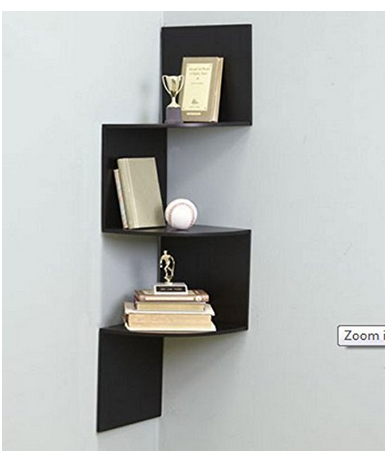 Home Sparkle Wooden Corner Wall Shelves Black Sh374