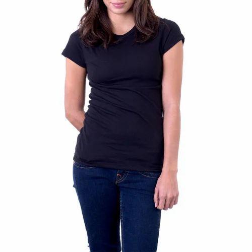 f6330a795a1a14 Ladies Cotton Black Plain T Shirt, Rs 115 /piece, Reifica ...