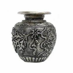 White Metal Kalash Flower Vase