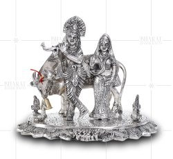 Metal Silver Plated Radha Krishna With Cow And Peacock