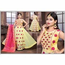 Multicolor Chiffon Ladies Party Wear Long Suit With Dupatta, Machine wash
