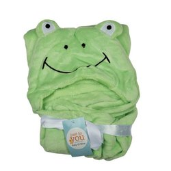 BABY BLANKET WITH HOOD GREEN BEAR