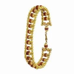 Premium Rudraksha Chain Bracelet Golden Brass Made with 100% Natual rudraksha