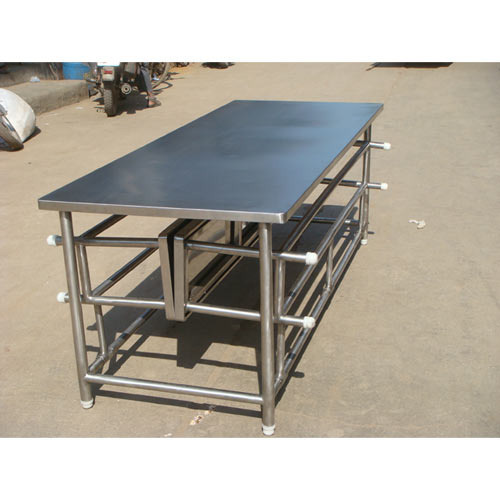 Silver Table With Foldable Bench Rs 18500 Piece Shree Industries