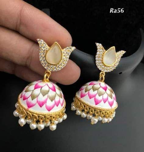 Hand Painted  Meena Earrings.