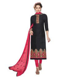 Black Colored Brasso Cotton Embroidery Unstitched Casual Wear Salwar Suit