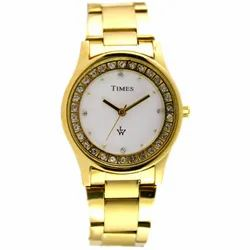 Round Wedding Wear Ladies Watch - TIMES Gold Chain, For Formal, Model Name/Number: Designer 2gbr