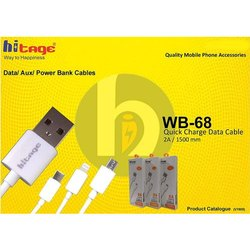 White Hitage Wb-68 iPhone Lighting 8 Pin Data Cable 2a 1.5m