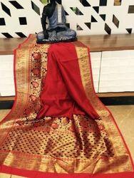 Banarasi Semi Silk Saree with Blouse Piece, Saree Length: 5.5 m