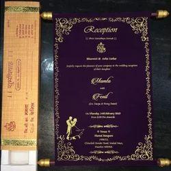 Scroll Wedding Cards, Shape: Rectangular