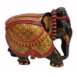 Embossed Hand Painted Wood Elephant Statue