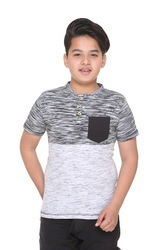 Designer Printed Henley Neck T-Shirt for Boys