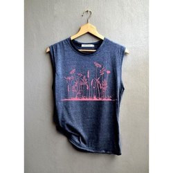 Sleeveless Round Ladies Polyester Cotton Jersey T Shirt, 160G, Size: S-XXL