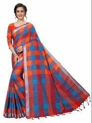 Cotton Silk Party Wear Orange Saree With Blouse Piece
