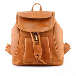 e190d8c5abcd Tan Ladies Leather Shoulder Backpack