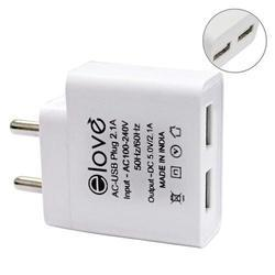 Elove Dual Port USB Charger Adapter With 2.1 Amps