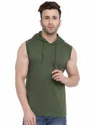 Olive Green Solid Hooded Vest