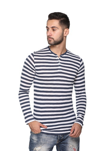 Casual Full Sleeve Men' s Striped T Shirt, Size: S, M, L
