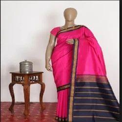Plain Chanderi Cotton Rani Sungadi Saree, With blouse piece, 5.2 m (separate blouse piece)