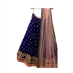 Heavy Embroidered Tafeta Silk Lehnga Saree