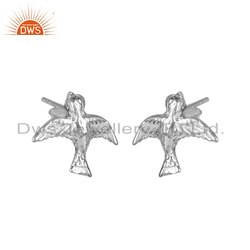 Handmade Bird Design 925 Silver Womens Earrings Jewelry