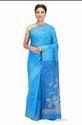 Blue Silk Hand Woven Banarasi Dupion Pure Silk Sarees, With Blouse Piece