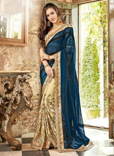 8b8f98ca18 Georgette Embroidery Saree With Blouse Piece, Rs 1695 /piece | ID ...