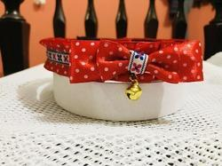 Red Polka Dot Puppy And Cat Bow Tie Collar