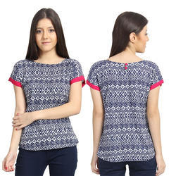 L And XL Blue Printed Digital Print Top