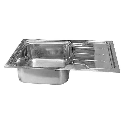 Single Stainless Steel Kitchen Sink with Drain Board, Thickness: 0.88mm -1.2mm