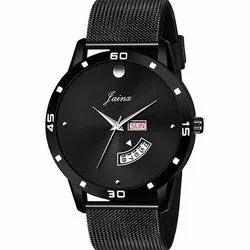 Men Black Mesh Band Day and Date Analog Watches