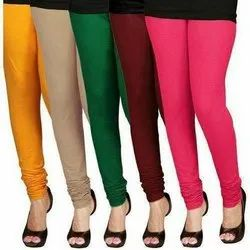 Plain Ladies Cotton Straight Fit Leggings, Size: Free Size