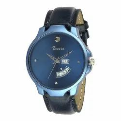 Casual Zesta Leather Strap Men Analogue Watch With Day And Date