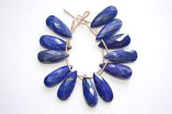 Natural Untreated Lapis Lazuli 10x25mm 3 Pair Large Focal Pear Pair Briolette Beads