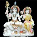 Marble Shiv And Parvati Statue