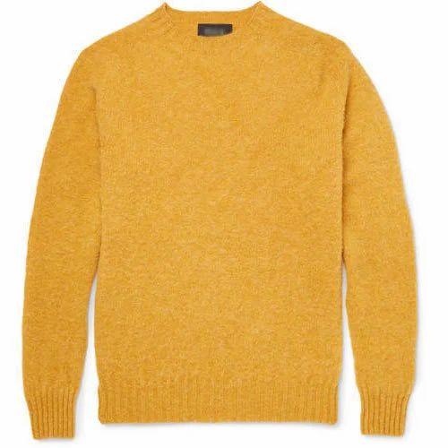 545aa5ecdc Full Sleeve Woolen Mens Plain Round Neck Yellow Sweater