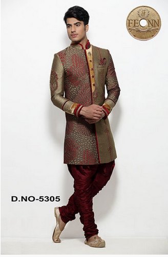 8afa9f2f166 Olive Silk Printed Men Indo Western - Fashion Icon