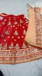 Hand Work Semi Stitched Jaipuri Designer Lehanga, 2.5 Meter