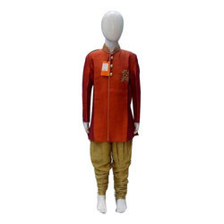Small & XL Red And Yellow Designer Boys Indo Western Suit
